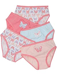 7231175c5b0b4 M Co Girls 100% Cotton Pink   Turquoise Butterfly Print Stretch Trims  Briefs Five Pack