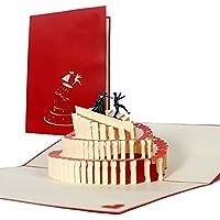 L09 Tarjeta divertida para parejas desplecable hecho a mano de alta calidad diseño en 3D de novio que salta de la torta