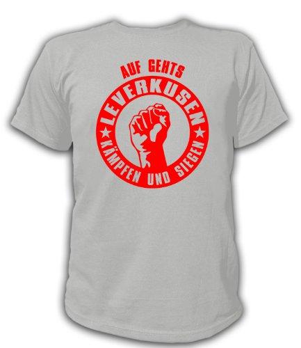 Artdiktat T-Shirt Auf geht´s Leverkusen kämpfen und siegen Unisex, Größe XXXL, grau