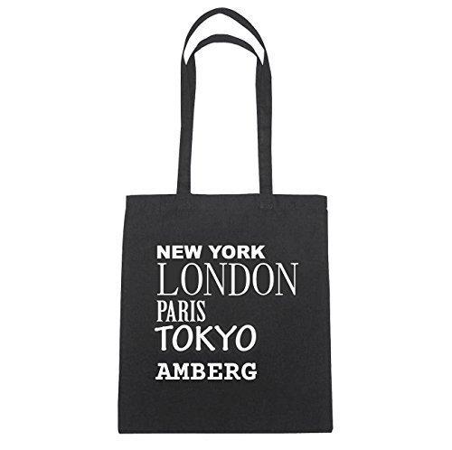 JOllify Amberg Borsa di cotone B1155 schwarz: New York, London, Paris, Tokyo schwarz: New York, London, Paris, Tokyo