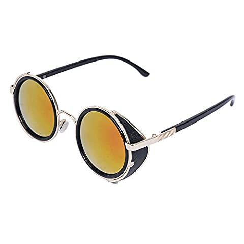 Hot Steampunk Retro Style 50s Gold & Black Frame Round Mirror Lens Glasses Blinder Sunglasses (Red)
