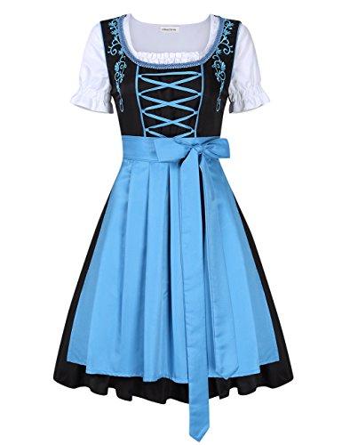 Clearlove Dirndl 3 tlg.Damen Midi Trachtenkleid für Oktoberfest,Stickerei Kleid&Bluse&Schürze,...