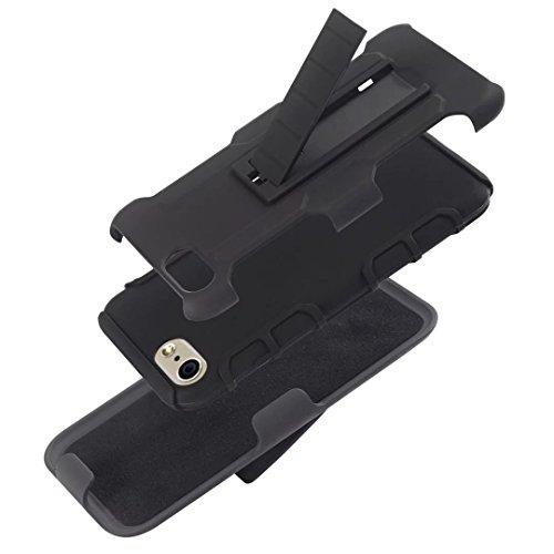 iPhone 7 hülle,Lantier 3 in 1 Roboter Stoß Hybrid Heavy Duty Rüstung Defender Case Schutzhülle mit Ständer und Gürtelclip Holster Combo für iPhone 7 (4,7 Zoll) Schwarz Robot Black