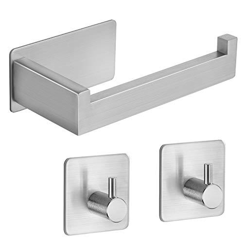 ZUNTO ToilettenpapierhalterEdelstahl Klopapierhalter Ohne Bohren WCPapierhalter, mit 2 Stück Selbstklebend Handtuchhaken für Badezimmer und Küche