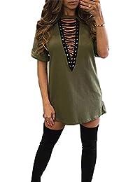 Highdas Women Mini Dresses Plunge Tops - Ladies Dress Deep V Neck Blouses Sexy Tunic Loose Pullover Bandage Short Sleeve Shirts Bandage Casual Clubwear