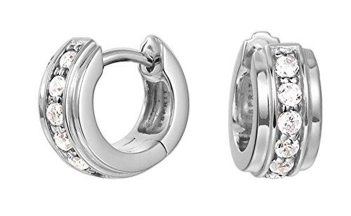 Esprit Damen-Creolen Shape Glam 925 Silber rhodiniert Zirkonia weiß Rundschliff - ESCO91681A000