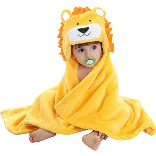 Babyhandtuch mit Kapuze Junge - Feelme Baby Badehandtuch Mikrofaser Kinder Kapuzenhandtuch Tier Poncho Frottee Fleece (Einheitsgröße, Löwe) (Mikrofaser-plüsch-hase)