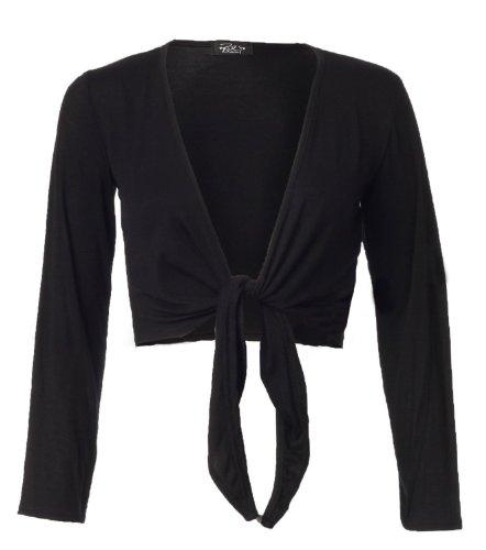 Fast Fashion Damen Mit Langen Ärmeln Riegelfrontseite Viskose Jersey Bolero Achselzucken Black