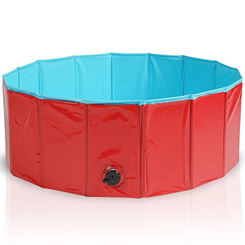 Premium Faltbarer Hundepool Planschbecken Schwimmbad Hundebadewanne Swimming Pool Kinderpool Bälle-Pool - Multifunktional, PVC-rutschfest| Haustier Kinder Hund Katze 80x30cm