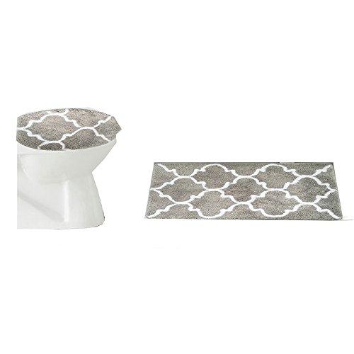 rt Vorhang für die Dusche Bad Set Ultra Weiches Mikrofaser Marokkanische Gitter Fußmatte Contour Matte mit Deckel Bezug, Mikrofaser, grau, bath & lid mat (Seashell Dusche Vorhang Haken)