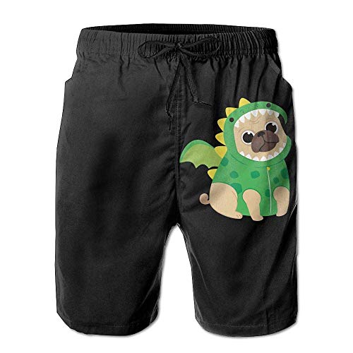 a77507acce5c Pug Dog Wearing A Dragon Costume Men's Printing Board/Beach Shorts  Drawstring Bathing Suit with