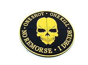One Shot One Kill No Remorse I Decide Sniper Orange PVC Airsoft Patch