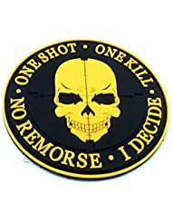 One Shot One Kill No Remorse I Decide Sniper Naranja Patch PVC Airsoft Velcro