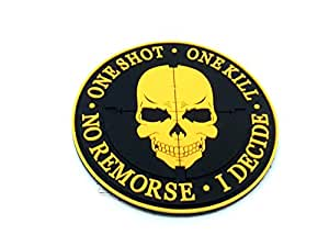 One Shot One Kill No Remorse I Decide Sniper Orange PVC Airsoft Patch