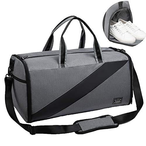 Valleycomfy Sporttasche Anzugtasche Trockene Nassabscheidung Große Kapazität Mit Schuhen Tasche Hand/Schulter/Umhängetasche Fitness Gepäcktaschen, 50L, Generation 3 (Grau) (Kompakte Multi-gym)