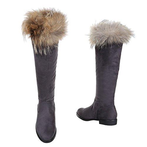 Komfortstiefel Damen Schuhe Klassischer Stiefel Blockabsatz Blockabsatz Reißverschluss Ital-Design Stiefel Grau