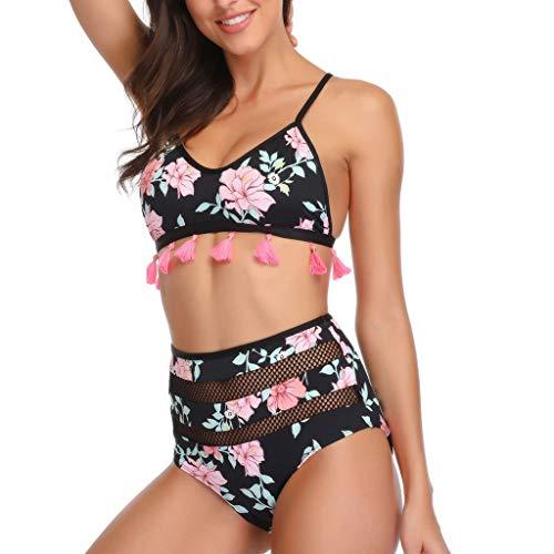 LSAltd Frauen Sommer Sexy Blumendruck Quaste Push-Up BH + Mesh Hohe Taille Zwei Stücke Bikini Set Badeanzug (Kleidung Puzzle-stück)