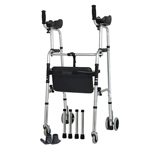 SXRL Gehwagen mit 4 Rädern mit arm Gepolsterte stütze und Schlitten fußpad Aluminiumfalten Gehhilfe Für ältere Menschen mit eingeschränkter Mobilität (41.7~47.6in)