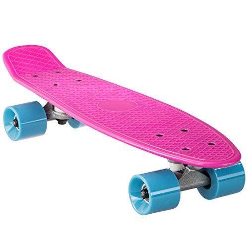 Ultrasport Mini Cruiser Board, Mini Skateboard, 80er Jahre Retro Skateboard für Kinder, Jugendliche, Erwachsene, Kinderskateboard, Schwarz/Rot (Skate Park City)