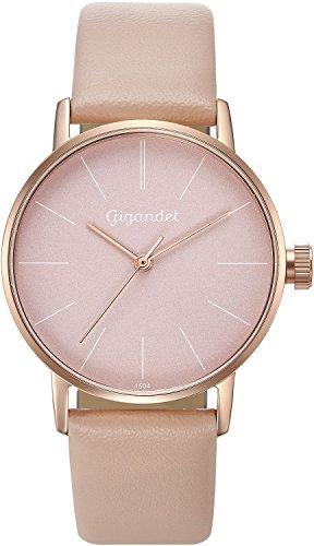 Gigandet Mujer Minimalism Reloj de cuarzo reloj de pulsera analógico pulsera de piel rojo oro rosa G43–015