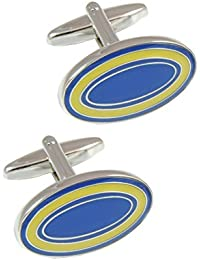 COLLAR AND CUFFS LONDON - PREMIUM Cufflinks WITH PRESENTATION GIFT BOX - High Quality - Dual Colour Oval - Solid Brass - Classic Style - Blue and Yellow Colours