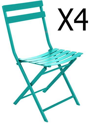 Lot de 4 chaises pliantes en acier coloris Émeraude - Dim : L52 x l42 x H80 cm -PEGANE-