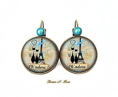 Boucles d'oreilles Chat 'dore Paris cabochon bleu bronze tour Eiffel verre dormeuses