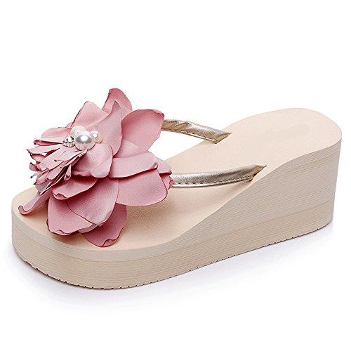 ZHIRONG Chaussures de plage antidérapantes à talons hauts pour femmes Chaussures de plage à talons épaisses pour femmes