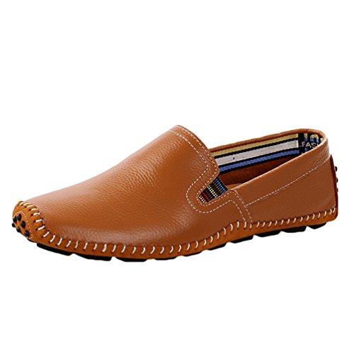 Anguang Hommes Flâneur Au volant Chaussures Décontractée Mocassins Confortable Chaussures Marron