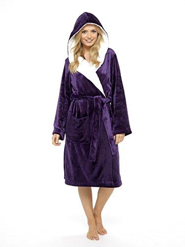 De Luxe pour femmes Robe de chambre Super Doux Robe avec capuche doublée de fourrure en peluche Peignoir de bain pour Women-perfect Cadeau (Rose et violet) - Violet - Medium