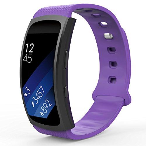 MoKo Armband für Samsung Gear Fit 2 / Fit2 Pro - Silikon Sportarmband Sport Band Uhrenarmband Erstatzband mit Stiftschließe für Gear SM-R360 / SM-R365 Smartwatch, Weiß, Bandlänge 126mm-213mm, Violett