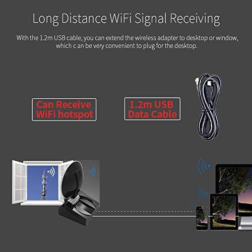41L5gYNS8LL - BSDK Adaptador inalámbrico de WiFi para USB, 150-1300Mbps 2.4G y 5.8G Adaptador de señal de WiFi Fuerte Antena de Radar WiFi USB LAN Ethernet Receptor