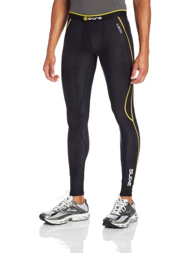 Skins Herren A200 Long Tights, Black/Yellow, S, ZB99600019052S