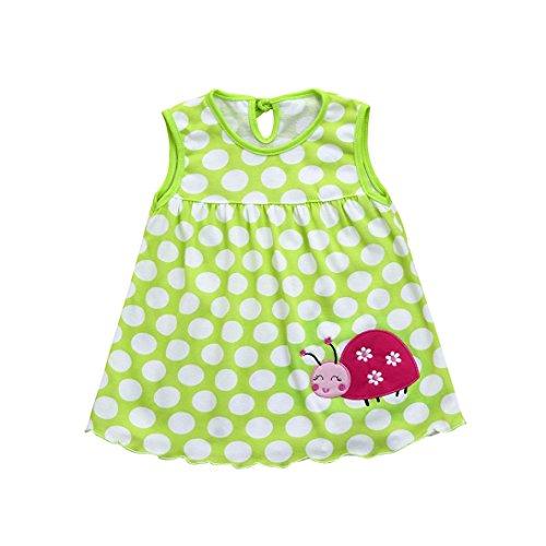 (Kleinkind Baby Kinderkleidung Baumwolle T-Shirt Blumenkleid Sommerkleidung Punkt Gestreift T-Stücke Hirolan Blumenrock Niedlich Weste Schlafanzug Bodys & Einteiler (0-24M, H))