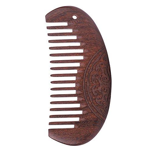 Kamm aus Sandelholz Holz Grob message tragbar Haarkamm glätten für Damen Herren Kinder Bartkamm für langes dickes dünnes lockiges nasse Haare Taschenkamm retro als Geschenk kaffeebraun