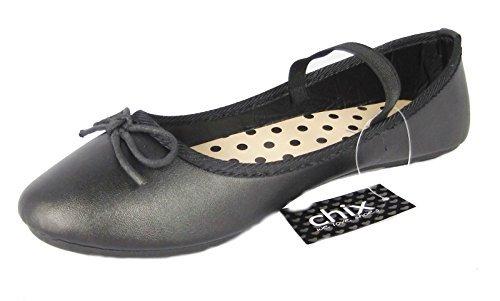 M盲dchen Kinder Chix Freizeit Formell Schule Ballerinas Slip On Schuhe Schwarz Matt