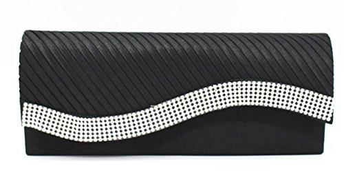 Cloud-Y FashionStrasssteinDamenAbendtascheHandtasche/ Clutch Große 9.84*3.94*1.97 -Geschenk fur Mutter oder Freunde Schwarz