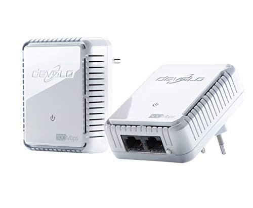 devolo dLAN 500 duo Starter Kit Powerline (Internet über die Steckdose, 2x LAN Ports, 2x Power Line Adapter, PLC Netzwerkadapter) weiß