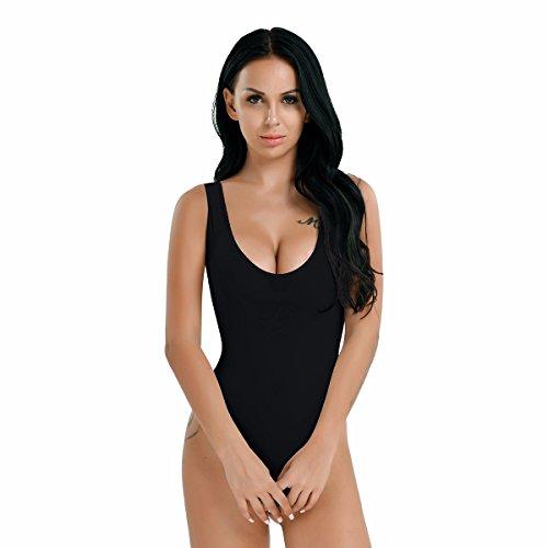 FEESHOW Damen Mesh Stringbody Unterwäsche Transparent High Cut Bodysuit Unterhemd Nachtwäsche Schwarz One (Bodysuit Mesh Schwarz)