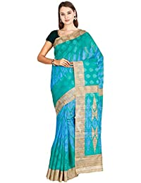 CLASSICATE From the house of The Chennai Silks Women's Bhagalpuri Synthetic Saree ( CCMYSY6923, Mint Leaf Green, Free Size)