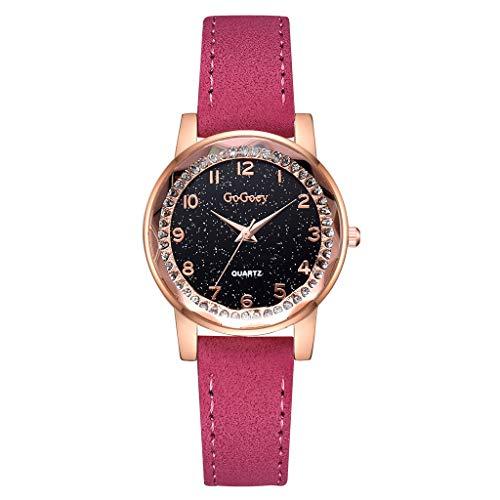 QHJ Uhr Mode Einfache Flache Digitalwaage Dial Gürtel Mode mit Quarz Damenuhr Trendige Einfache Flache Digitale Zecke Uhr mit Mode Und Quarz Damenuhr (Hot Pink)