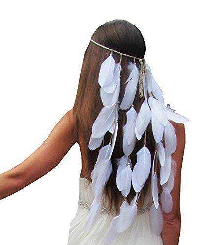 FANHOM Feder Stirnband Frauen Indianer Kopfschmuck Bohemien Hochzeit Braut Kopfbedeckung Weiß Quaste Faszinator Haarschmuck Krone (Kostüm Pfauenfeder Weiß)