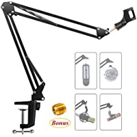 Microphone Arm Stand, URMI Microphone Suspension Boom Scissor Arm Stand Mic Clip Adjustable Boom Studio Scissor Arm Stand with Mic Clip Holder and Table Mounting Clamp for Blue Yeti Snowball Microphone