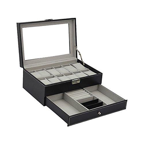 HooAMI Uhr Roll Organizer Uhrenkoffer Uhrenbox Uhrenkasten Schaukaesten Schmuckkaestchen doppeltsehen PU Leder Fuer 8 Uhren