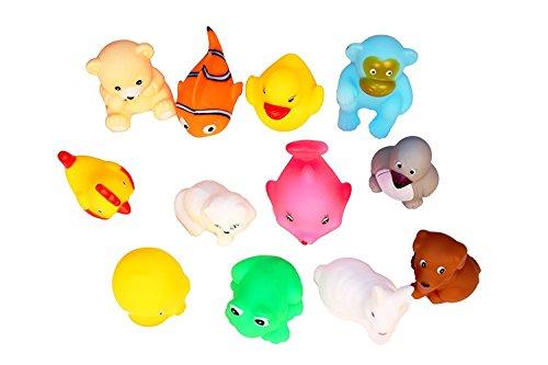 KISMIS bath toys non-toxic animal soft toys for baby kids bath toys chu chu 12 piece set, Multi Color