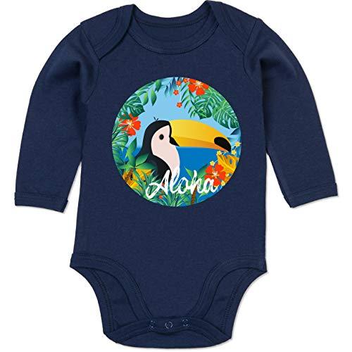 Shirtracer Karneval und Fasching Baby - Aloha Tukan - 6-12 Monate - Navy Blau - BZ30 - Baby Body Langarm