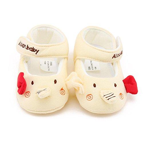 IGEMY Nouvelle mode Bébé Fille Chaussures de sport en coton antidérapant Soft Sole Cartoon Jaune
