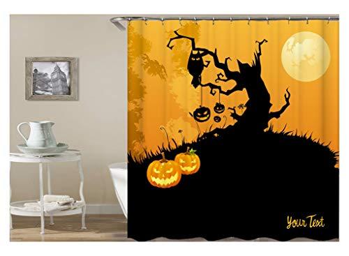 Epinki Polyester Bad Vorhang Halloween Kürbis Baum Muster Badewanne Vorhang Bunt für Badewanne 120X180CM