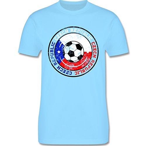 EM 2016 - Frankreich - Czech Republic Kreis & Fußball Vintage - Herren Premium T-Shirt Hellblau