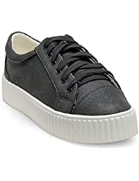 Flat N Heels Womens Black Sneakers